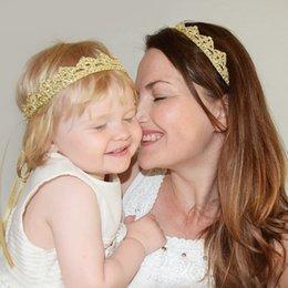 Wholesale Golden Group - Simplize Golden Crownn Shape Baby&Mummy Group Headbands for Baby Pure Cutton Hair Accessories New kids Headbands