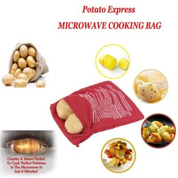 Wholesale Bake Tools - Microwave Potato Bags Cooker Bag Baked Potato Washable Reusable Kitchen Tool Baking Bag Cooking Quick Fast Red