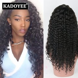 Wholesale Kinky Curls Wigs - Jerry Curl Human Hair wigs Brazilian virgin remy human hair Lace Front Hair Wigs black color wigs free shipping no shedding no tangles US UK