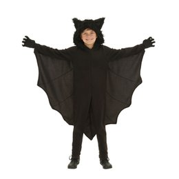 Discount children dressing up clothes - 2017 Winter Halloween Cosplay Costumes Bat clothes Black Bats Cut Fanny Dress Up Party Costume For Children with Gloves