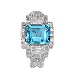 Wholesale Blue Topaz Rings For Women - Natural Blue Topaz 925 Silver Ring Sterling for Women 7x9mm Oblong Shape Stone Jewelry December Birthstone R057BTN