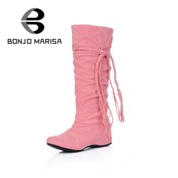 Wholesale Wholesale Sexy Boots - Wholesale- Big size 34-43 Women's New Fashion Sexy Knee High Long Boots Low Wedge Heel Winter women Shoes Slip-on Shoes Autumn Boots