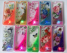 Wholesale Wholesale Glitter Flowers - For Iphone 7 7Plus Samsung S8 S8 plus J3 Emerge Peng Hai flower LED Bling Transparent TPU Water Glitter Case for LG stylo 3 ZTE Z MAX PRO