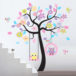 Wholesale Tree Swing Decal - Lovely Owls On the Swing Beautiful Colourful Tree Wall Stickers Removable Vinyl Decal Art for Girls Children Room
