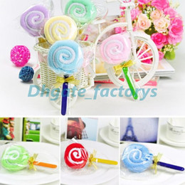 Wholesale Lollipop Wedding Favors Wholesale - Fast shipping New Fashion Lollipops cake towel 100% cotton towel Party Favors Wedding birthday gift Christmas gift