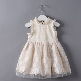 Wholesale Girls Dressess - 2017 Kids Spring White Lace Princess Dressess Girl Flower Embroidery Vest Dress Hight Quality Baby Clothing