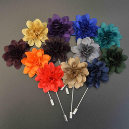 Wholesale Wholesale Flower Pins - 12Pcs lot Fashion Women Collar Pins Simulation Flower Boutonniere Sticks Lapel Pin Brooch Pins Men Shirt Suit Brooches 12 Colors