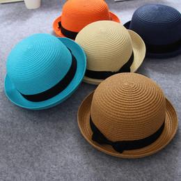 Wholesale Boys Fedora Hats Wholesale Straw - New 2017 Fashion Children Girls Straw Hats Soft Fedora Panama Hats Outdoor Stingy Brim Caps Bow Kids Casual Caps Kids Dicers 10pcs A6614