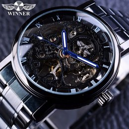 Wholesale Winner Mens Hand Wind Watches - New Skeleton Black Stainless Steel Blue Hands Luminous Mens Watches Top Brand Luxury Watch Men Montre Homme Automatic Watch