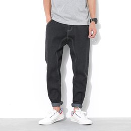 Wholesale Oversized Xxl - Wholesale-Casual harem pants men Black color Oversized xxl xxxl xxxxl xxxxxl Jeans trousers