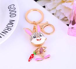 Wholesale Zodiac Key Chains - 2017 Creative automobile ornament pendant zodiac lovely carrot rabbit key chain Lovely ornament set auger diamond car keys YCK5