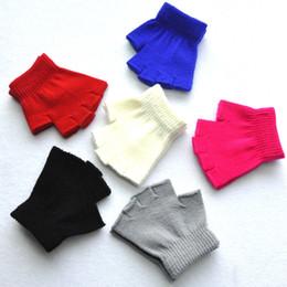 Детская половина пальцы варежки зима милый ребенок теплые перчатки мальчики девочки зимние вязаные перчатки твердые стрейч вязать варежки для 4-15 лет от
