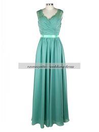 Wholesale Real Green Jade - 2017 Jade A Line Scoop Chiffon Zipper Floor Length Sleeveless Sash Ruffle Lace Bridesmaid Dresses Long Country Maid of Honor Dress