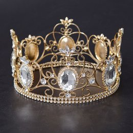 Wholesale wholesale pageant - Wholesale Luxury Baroque Rhinestons Round Wedding Crowns Sweet 15 Quinceanera Tiaras Girls Pageant Celebrities Hair Accessories Headpi