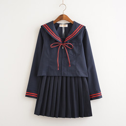 Wholesale Navy Sailor Dress - Malidaike Anime Sailor Suit Cardigan Pleated Skirt Japanese Cute Dress Student Clothes Orthodox JK Uniform College Navy Style Cosplay Costum
