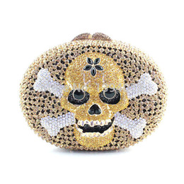 Wholesale Crystal Skull Phone - Wholesale- Skull Shape Handmade Crystal Unique Clutch Purse