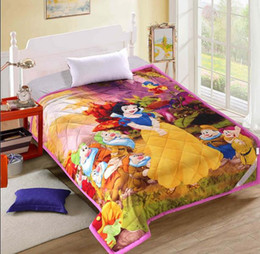 Wholesale Girls Bedding Quilts Twin - Wholesale- Snow White Girls Big Hero 6 mickey mouse Comforter Sets150*200cm quilt and 2 pillowcases Bedroom Bedding Sets Cartoon Twin Size