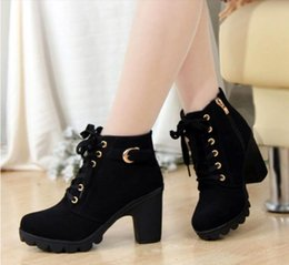 Wholesale Wedge Platform Boots Vintage - 2017 Lace-up Ladies Platform high heel single shoes vintage women motorcycle boots martin boots woman ankle boots
