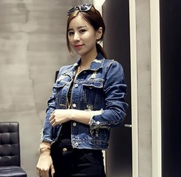 Wholesale Women S Korean Jacket - Spring and Autumn new Korean wild personality holes denim shorts jacket for women fashion coat denim jacket