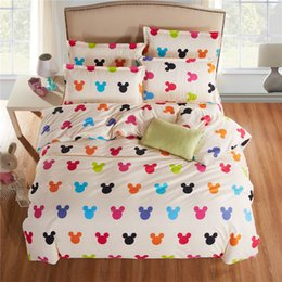 Wholesale Totoro Duvet Cover - Wholesale- New fashion bedding set mickey and minnie Totoro Twin Full Queen King size duvet cover bed sheet pillowcase bed linen flat sheet