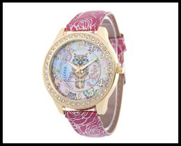 Wholesale Analog Print - 2017 new watch owl print dial lady quartz watch manufacturer direct sale high quality