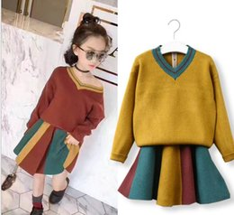 Wholesale Girls Sweater Skirt Sets - 2017 Autumn New Girl Sets V-neck Sweater+stripe Skirt Girl Fashion Outfits Children Clothing 317660
