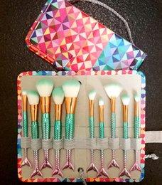 Wholesale Cosmetics Make Up Wholesale - Mermaid Makeup brushes sets cosmetics brush 10 bright color Spiral shank make-up brush unicorn screw makeup tools