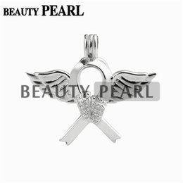 Wholesale angels ribbons - 5 Pieces Angel Wing Footprint Ribbon Cage Locket Love Wish Pearl Gift 925 Sterling Silver Pearl Cage Pendant