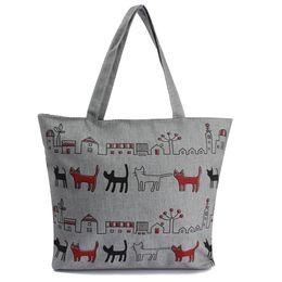 2019 saco padrão do gato Atacado- ASDS-Mulheres Canvas Lady Shoulder Bag Bolsa Tote Sacos De Compras Zip Multi Pattern Cats desconto saco padrão do gato