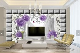 Wholesale European Classic Sofa - TV background murals 3d wallpaper purple rose Roman column living room sofa seamless wall wallpaper European style wallpaper
