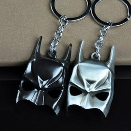Wholesale Leather Face Mask Ball - High quality Anime Batman Mask Dark Knight Mask Model Pendant Alloy Birthday Gift Key Chain KR060 Keychains mix order 20 pieces a lot