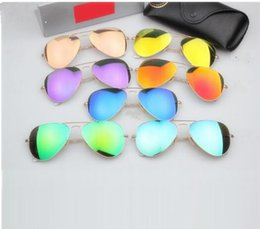 Wholesale High Quality Aviator Glasses - New high-quality aviator men sunglasses brand sunglasses designer women 58mm 62mm glass lenses color sunglasses and box