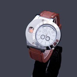 Wholesale Usb Electronic Cigar - Watch Lighter 2 In 1 Rechargeable Electronic Lighter USB Charge Flameless Cigar Wrist Watches Lighter Business Gifts