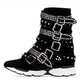 Wholesale Korean Boots Wedges - Korean Casual Breathable Sport Shoes 2017 Winter Keep Warm Rivets Buckle Decoration Women Wedge Single Shoes 35-40