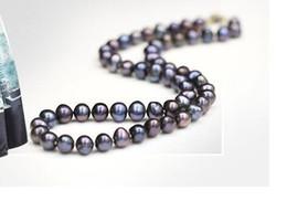 Быстрая бесплатная доставка прекрасный жемчуг ювелирные изделия потрясающий 9-10мм Tahitian павлин синий красный многоцветный жемчужное ожерелье 19