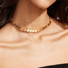 Wholesale Leather Choker Necklaces Women - 2017 New Fashion Punk star gold color Collar Choker Necklace Women Bohemian classic Collier long chain Statement Necklaces Jewelry wholesale