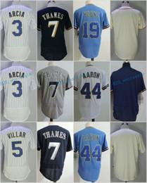 Wholesale Robin Baseball - 3 Orlando Arcia 5 Jonathan Villar 7 Eric Thames 19 Robin Yount 44 Hank Aaron Flexbase Jerseys Cool Base Throwback Stitched White Blue Grey R
