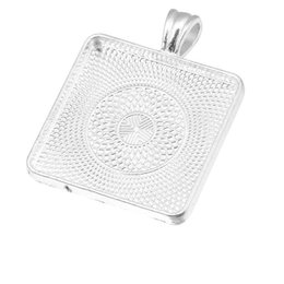Wholesale Silver Square Cabochon Setting - 100pcs Silver Plated fit 30mm Square Blank Cabochon Cameo Base Setting Trays Bezel Setting Pendant for DIY Necklace Jewelry