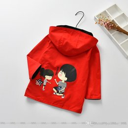 Wholesale Cute Red Winter Coats - INS 2 color New autumn winter clothes Korean style Cute cartoon pattern 100% cotton Wear a long windbreaker coat on both sides free shipping