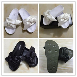 2017 heißer verkauf versandkostenfrei senden mit box und staubbeutel rihanna x fünfzig bandana rutschen pelz hausschuhe sandalen größe 36-41 von Fabrikanten