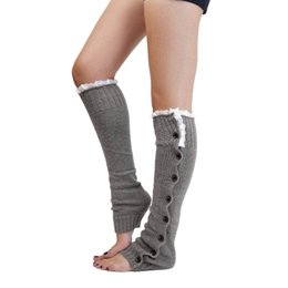 Wholesale White Slouch Socks - Wholesale- 6027 Winter Women Warm Knit Crochet Stocking High Knee Leg Warmers Leggings Slouch Boot Lace Button Stocking