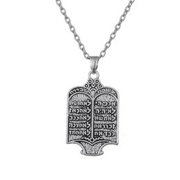 Wholesale Tibetan Necklace Wholesale - Tibetan Silver Plated Jewish Torah Scroll 10 Commandments Necklace Ethnic Jewelry for Men and Women Free Shipping