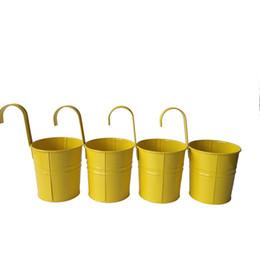 D9.5XH17.5CM colore giallo metallo pianta vaso da fiori gancio fioriera appeso secchi appeso a parete fioriera balcone vaso di fiori da