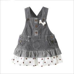 Wholesale Blue Suspender Skirt - Wholesale Girls Jeans Skirt Girl Denim Skirt 1-4 years kids Dresses Braces skirt baby girls clothes summer dress for girls LA384