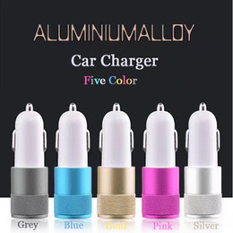 Wholesale Ipad Chargers Usb Cable - Cell Phone Car Chargers Dual USB Port Universal Cable Adapter For iPhone iPad iPod Samsung Galaxy Motorola Droid Nokia HTC Five Color