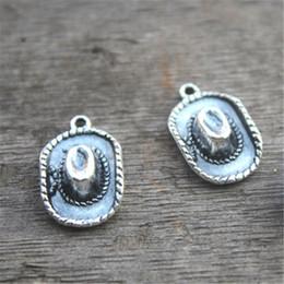 Wholesale D Pendants - 40pcs Cowboy Hat Charms, Antique Tibetan Silver Tone 3 D Cowboy Hat Charm pendants 23x13x6mm