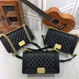 Wholesale Gold Cross Body Handbag - New Style High quality 25cm casual Fashion womens handbags Cross Body totes Leather Plaid Flaps Shoulder Bags Gold Chain Hardwar bags purse