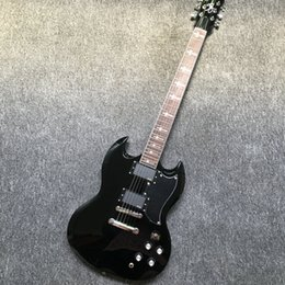 Wholesale Sg Black - 2017 New Arrival SG Angus Young Guitar AC DC Inlaids black Dark rosewood Fretboard China Guitars EMS free shipping