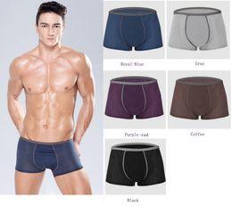 Wholesale Black Mesh Sheet - boxer men underwear punched sheet Middle waisted U convex men panties 5 colors L-3XL Mesh permeable free shipping