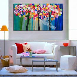 modernen abstrakten kunstmalereien kreise Rabatt Handgemaltes abstraktes Landschaftsölgemälde des bunten Kreisbaums auf modernen Hauptwandkunst-Dekorationsmalereien des Segeltuches